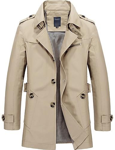 preiswerte Normale Jacken-Herrn Alltag Retro Herbst / Winter Lang Trench Coat, Solide Hemdkragen Langarm Andere Schwarz / Armeegrün / Blau