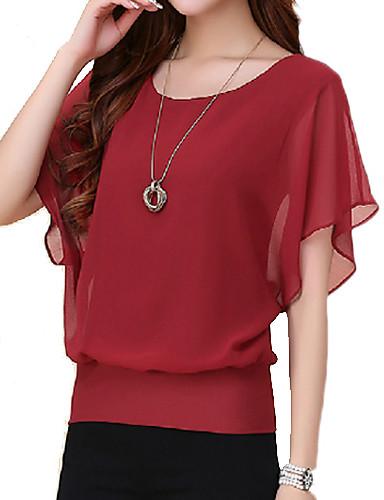 billige Bluser-Store størrelser T-skjorte Dame - Ensfarget, Drapering Lilla / Sommer