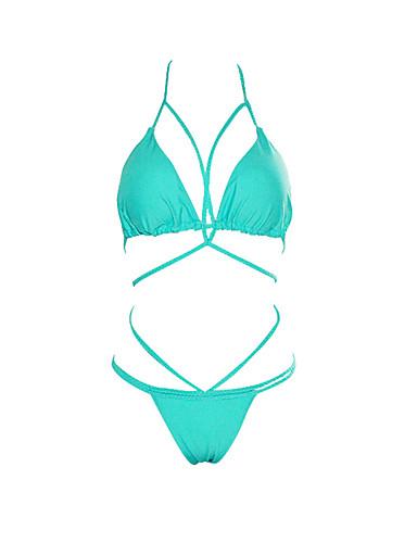 billige Bikinier og damemote-Dame Grime Fuksia Vin Militærgrønn Bikini Badetøy - Ensfarget M L XL Fuksia