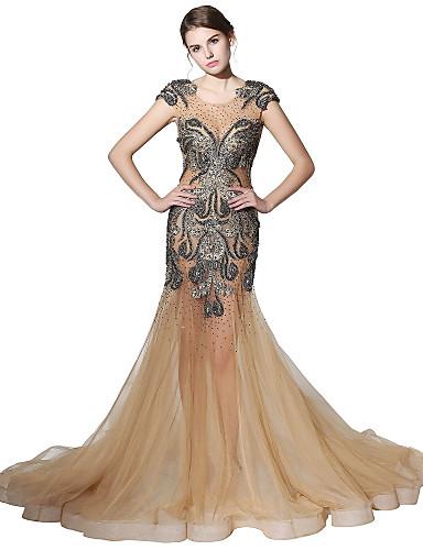 a21fc5d07f71 A sirena Con decorazione gioiello Strascico da cappella Tulle Graduazione   Serata  formale Vestito con Perline   Di pizzo di del 6440235 2019 a  499.99