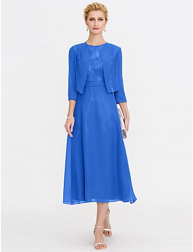 זול חיסול-גזרת A שמלה לאם הכלה  אלגנטית מידה גדולה אשליה באורך הקרסול שיפון תחרה בגימור גלי ללא שרוולים עם תחרה קפלים 2020