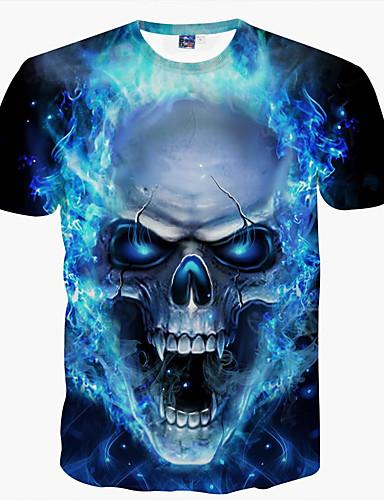 cheap Men's Tees & Tank Tops-Men's T-shirt Graphic Skull Print Short Sleeve Tops Basic Round Neck Blue / Summer / Club