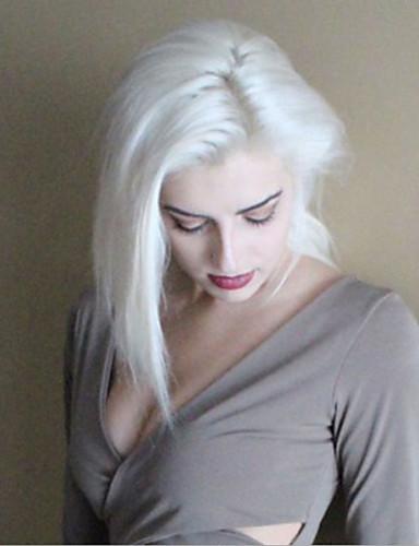 preiswerte Premium Perücken aus synthetischer Spitze-Synthetische Lace Front Perücken Glatt Gerade Bob Bubikopf Spitzenfront Perücke Kurz Weiß Synthetische Haare Damen Afro-amerikanische Perücke Weiß