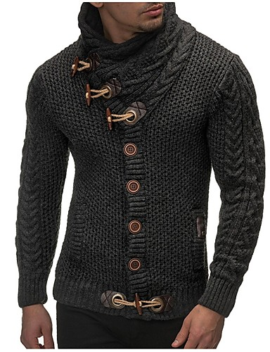 cheap Men's Sweaters & Cardigans-Men's Daily / Going out / Weekend Solid Colored Long Sleeve Slim Regular Cardigan Sweater Jumper, Turtleneck Fall / Winter Black / Brown / Dark Gray M / L / XL