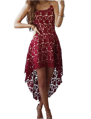 preiswerte Spitze-Damen Party Ausgehen Kleid - Spitze, Solide Asymmetrisch V-Ausschnitt Staubige Rose