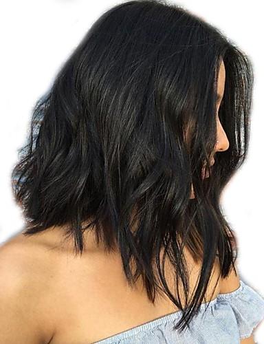 povoljno Perike s ljudskom kosom-Ljudska kosa Perika pune čipke bez ljepila Full Lace Perika Bob frizura stil Brazilska kosa Valovita kosa Prirodne kovrče Perika 130% Gustoća kose s dječjom kosom Izbijeljeni čvorovi Žene Kratko