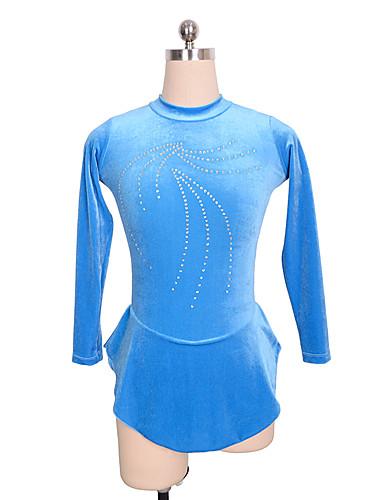 Φόρεμα για φιγούρες πατινάζ Γυναικεία Κοριτσίστικα Patinaj Φορέματα Μπλε Spandex Ανελαστικό Εκπαίδευση Ανταγωνισμός Ενδυμασία πατινάζ Μονόχρωμο Μακρυμάνικο Πατινάζ Πάγου Πατινάζ για φιγούρες