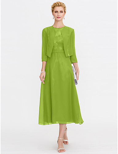 cheap Mother of the Bride Dresses-A-Line Mother of the Bride Dress Elegant Plus Size Illusion Neck Tea Length Chiffon Corded Lace Sleeveless with Lace Pleats 2020 Mother of the groom dresses