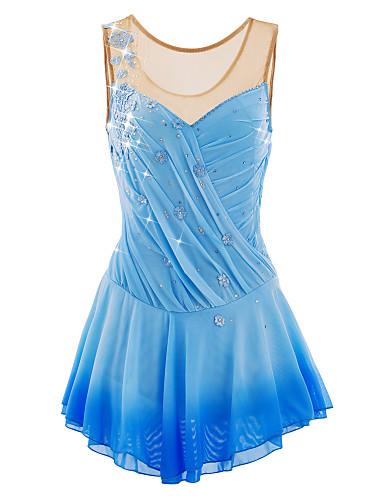 robe de patinage artistique femme fille patinage robes bleu ciel fleur teinture halo spandex. Black Bedroom Furniture Sets. Home Design Ideas