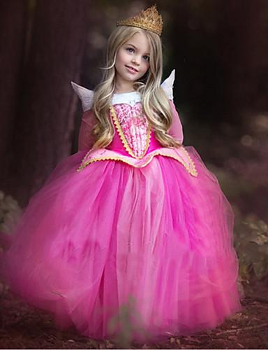 povoljno Maske i kostimi-Aurora Haljine Dječji Djevojčice Božić Halloween Maškare Festival / Praznik Polyster Plava / Pink Karneval kostime Color block / Haljina / Haljina