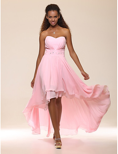 cheap Evening Dresses-A-Line Empire Graduation Cocktail Party Dress Sweetheart Neckline Sleeveless Asymmetrical Chiffon with Crystals Tier 2020
