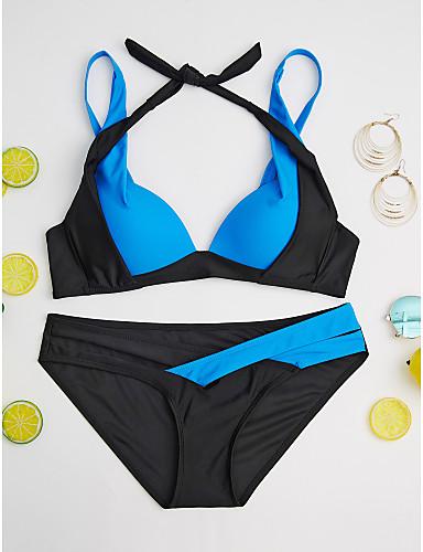 billige Dametopper-Dame Grime Svart Mørkeblå Syrin Cheeky Bikini Badetøy - Fargeblokk XL XXL XXXL Svart / BH med bøyler