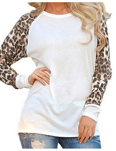 billige Dametopper-Store størrelser Bluse Dame - Leopard, Lapper Gatemote Ut på byen Svart