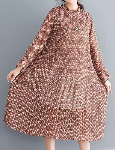 Γυναικεία Αργίες Βαμβάκι Θήκη Φόρεμα Στάμπα Μίντι