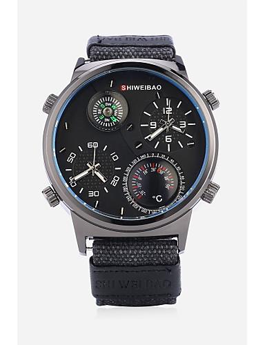 SHI WEI BAO Ανδρικά Αθλητικό Ρολόι Μοδάτο Ρολόι Στρατιωτικό Ρολόι Χαλαζίας Υπερμεγέθη Μαύρο / Λευκή / Μπλε Θερμόμετρο Πυξίδα Διπλές Ζώνες Ώρας Αναλογικό Καθημερινό - Μαύρο Μπλε Απαλό Πράσινο