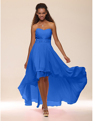cheap Special Occasion Dresses-A-Line Empire Graduation Cocktail Party Dress Sweetheart Neckline Sleeveless Asymmetrical Chiffon with Crystals Tier 2020