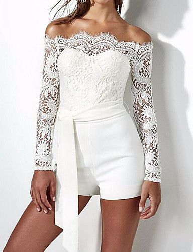 9e96d9a8e3eaa8 Women's Off Shoulder Lace Holiday Simple Boat Neck White Romper, Solid  Colored M L XL Cotton Long Sleeve Spring Summer 6490379 2019 – $16.62