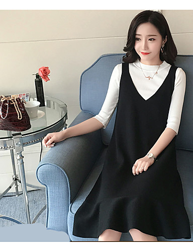 Women S Daily Casual Fall T Shirt Dress Suits Print Turtleneck 3 4