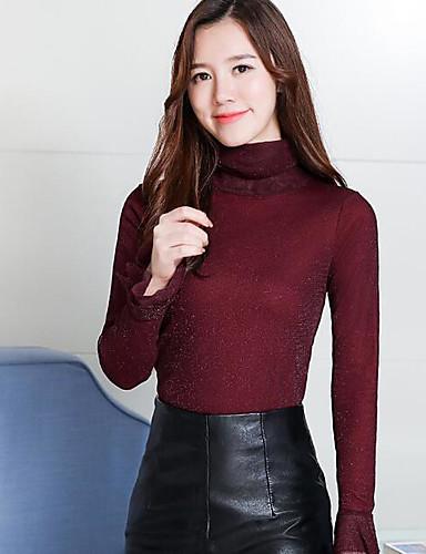 Medio 6493897 Diario Algodón Blusa largas Cuello Casual Otoño Color Mujer Un Mangas 2019 Alto 1wP7n