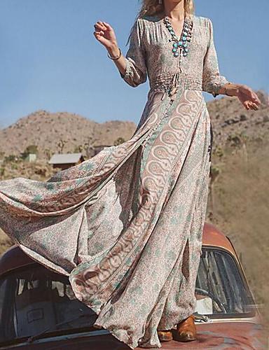 levne Maxi šaty-Dámské Větší velikosti Dovolená Bavlna Swing Šaty - Etno, Tisk Maxi Do V