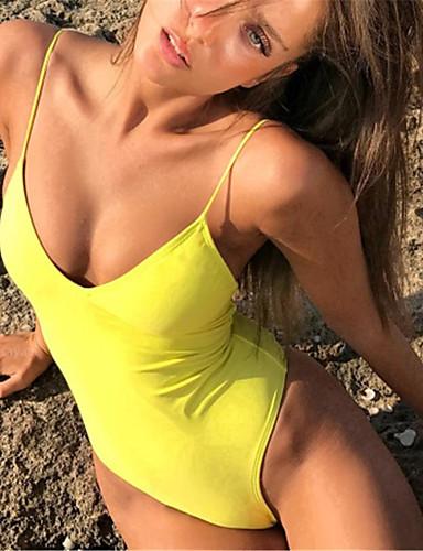 preiswerte Volltonfarbe-Damen Gurt Tiefer Ausschnitt Rote Purpur Gelb Einteiler Bademode - Volltonfarbe S M L Rote