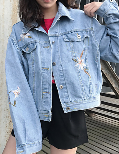[$26.51] Damen Druck Freizeit Alltag Jeansjacke,Hemdkragen Herbst Langärmelige Standard Polyester Bestickt