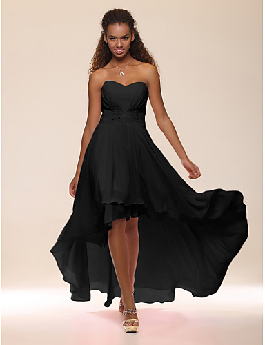 cheap Homecoming Dresses-A-Line Empire Graduation Cocktail Party Dress Sweetheart Neckline Sleeveless Asymmetrical Chiffon with Crystals Tier 2020