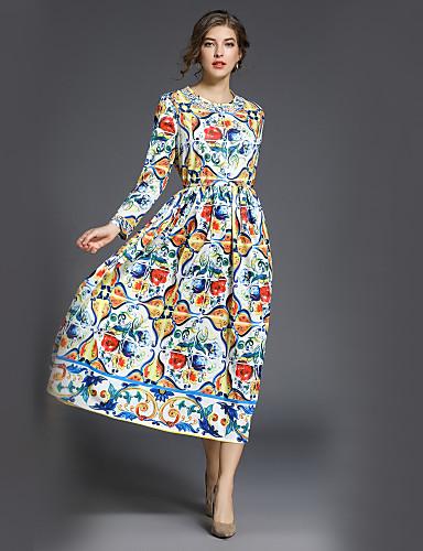 levne Maxi šaty-Dámské Práce Šik ven A Line / Swing Šaty Tisk Maxi