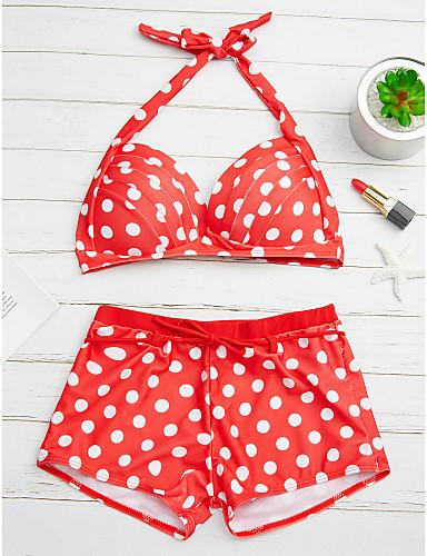 billige Dametopper-Dame Polkadotter Punkt Rosa Lyseblå Marineblå Singleter Bukse Bikini Badetøy - Polkadotter Polka Prikker XL XXL XXXL Rosa / 2pcs / Sommer