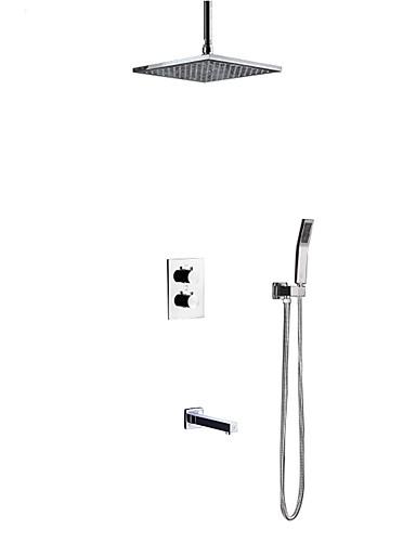 preiswerte HomeSweetHome-Duscharmaturen - Moderne Chrom Deckenmontage Keramisches Ventil Bath Shower Mixer Taps / Messing / Zwei Griffe Vier Löcher