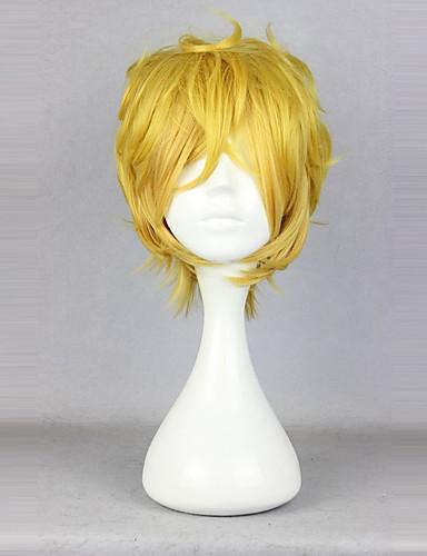 povoljno Maske i kostimi-Yogi Cosplay Wigs Uniseks 14 inch Otporna na toplinu vlakna Plavuša Bijela Anime