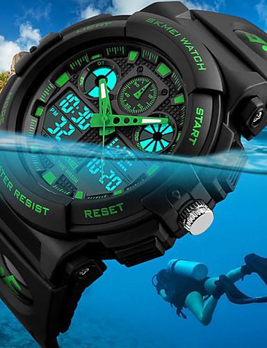 cheap Digital Watches-SKMEI Men's Wrist Watch Digital Watch Hunting Watch Japanese Quartz Quilted PU Leather Black 50 m Water Resistant / Waterproof Alarm Calendar / date / day Analog - Digital Fashion - Red Green Blue