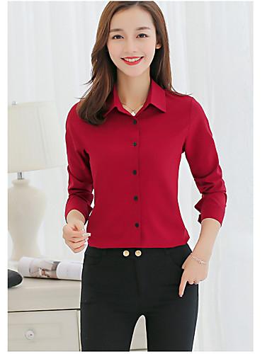 billige Skjorter til damer-Skjortekrage Skjorte Dame - Ensfarget Aktiv Dusty Rose Rosa / Høst