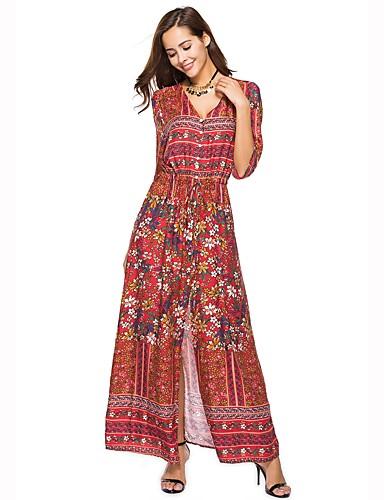 voordelige Maxi-jurken-Dames Grote maten Strand Boho Katoen Ruimvallend Wijd uitlopend Jurk - Bloemen, Split V-hals Maxi Hoge taille / Hoge taille