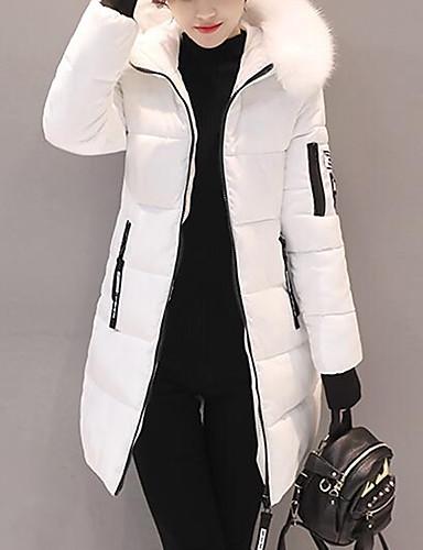 preiswerte Ausverkauf-Damen Ausgehen Street Schick Solide Lang Daunenjacke, Polyester Langarm Schwarz / Weiß / Rosa M / L / XL
