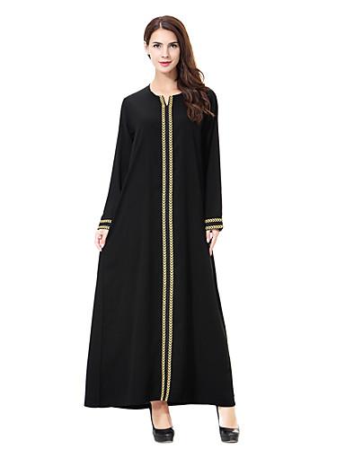 voordelige Maxi-jurken-Dames Grote maten Standaard Boho Ruimvallend Ruimvallend Recht Jurk - Effen Kleur Maxi