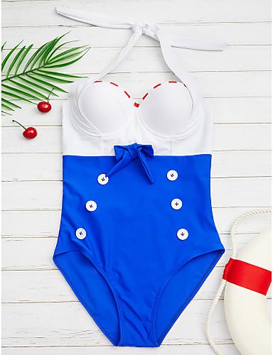 billige Bikinier og damemote-Dame Vintage Grime Marineblå forms Underbukser En del Badetøy - Fargeblokk Sløyfe L XL XXL Marineblå