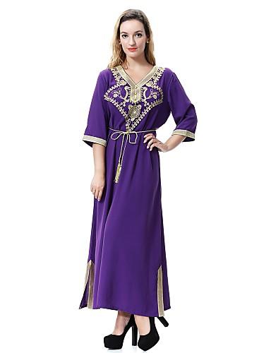 levne Maxi šaty-Dámské Větší velikosti Párty Volné Swing Jalabiyah Šaty - Jednobarevné Květinový Žakár, Rozparek Midi Do V