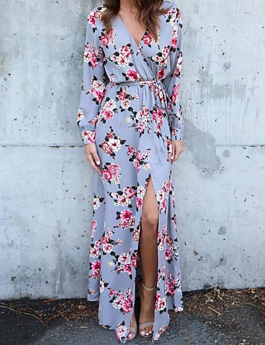 levne Maxi šaty-Dámské Párty Pouzdro Šaty - Geometrický, Květinový styl Maxi Do V