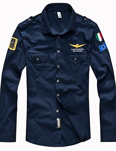 povoljno Bijele košulje-Muškarci Dnevno Majica Jednobojni Osnovni Dugih rukava Slim Tops Vojni Klasični ovratnik Obala Crn Vojska Green / Proljeće