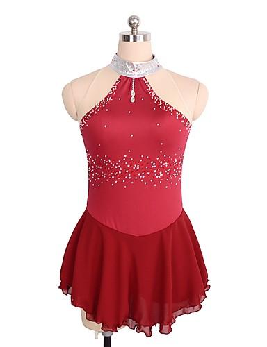 SKMEI Φόρεμα για φιγούρες πατινάζ Γυναικεία Κοριτσίστικα Patinaj Φορέματα Βαθυγάλαζο Κόκκινο Spandex Ανταγωνισμός Ενδυμασία πατινάζ Πούλια Αμάνικο Πατινάζ για φιγούρες