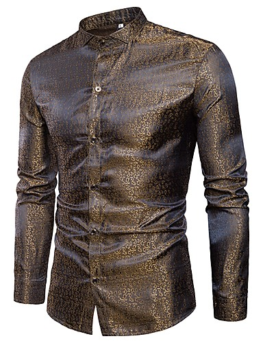 Homens Camisa Social - Bandagem Jacquard, camuflagem Algodão Dourado / Manga Longa / Primavera