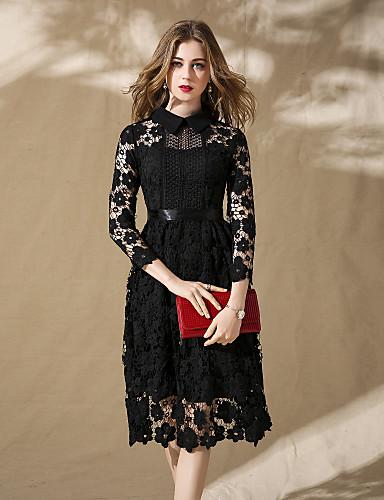 2c51890cf9997 Kadın's Dantel Elbise - Solid, Dantel Gömlek Yaka 6508682 2019 – $79.79