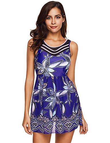 3f5f319a9224 [$32.99] Mujer Tallas Grandes Con Tirantes Azul Piscina Tankini Bañadores -  Floral Espalda al Aire Azul Piscina