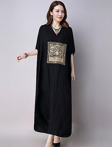 Γυναικεία Εξόδου Βαμβάκι Υπερμεγέθη Φαρδιά Φόρεμα Στάμπα Μακρύ Λαιμόκοψη V