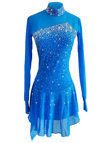 SKMEI Φόρεμα για φιγούρες πατινάζ Γυναικεία Κοριτσίστικα Patinaj Φορέματα Ουρανί Spandex Ελαστικό Νήμα Ελαστικό Ανταγωνισμός Ενδυμασία πατινάζ Πούλια Μακρυμάνικο Πατινάζ για φιγούρες
