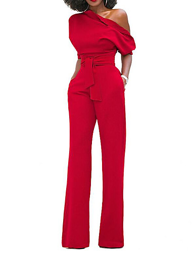 cheap Women's Clothing-Women's Wide Leg Kentucky Derby One Shoulder Black Wine Light Blue Wide Leg Slim Jumpsuit, Solid Colored S M L Short Sleeve Spring Summer