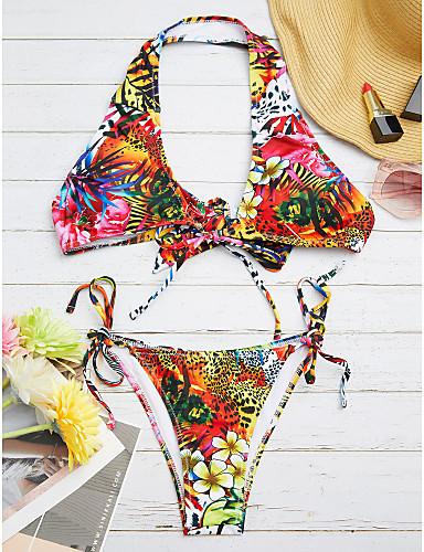 billige Dametopper-Dame Blomster Bohem Rød Bikini Badetøy - Trykt mønster M L XL Rød