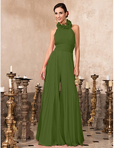 cheap Special Occasion Dresses-Jumpsuits Hot Red Wedding Guest Formal Evening Dress High Neck Sleeveless Floor Length Chiffon with Pleats 2020