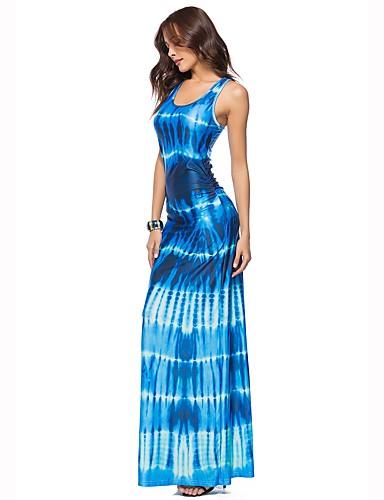 levne Maxi šaty-Dámské Větší velikosti Plážové Cikánský Pouzdro Šaty - Tisk Barevné bloky, Tílková záda Maxi Do U Modrá